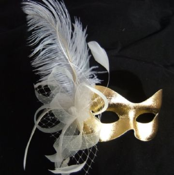 Gold & cream Burlesque style feather masquerade  mask